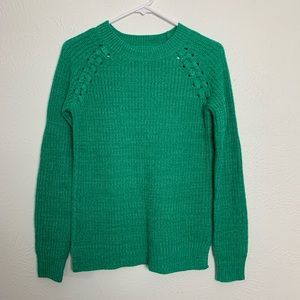 American Heritage Knit Sweater w/ Braided Shoulder